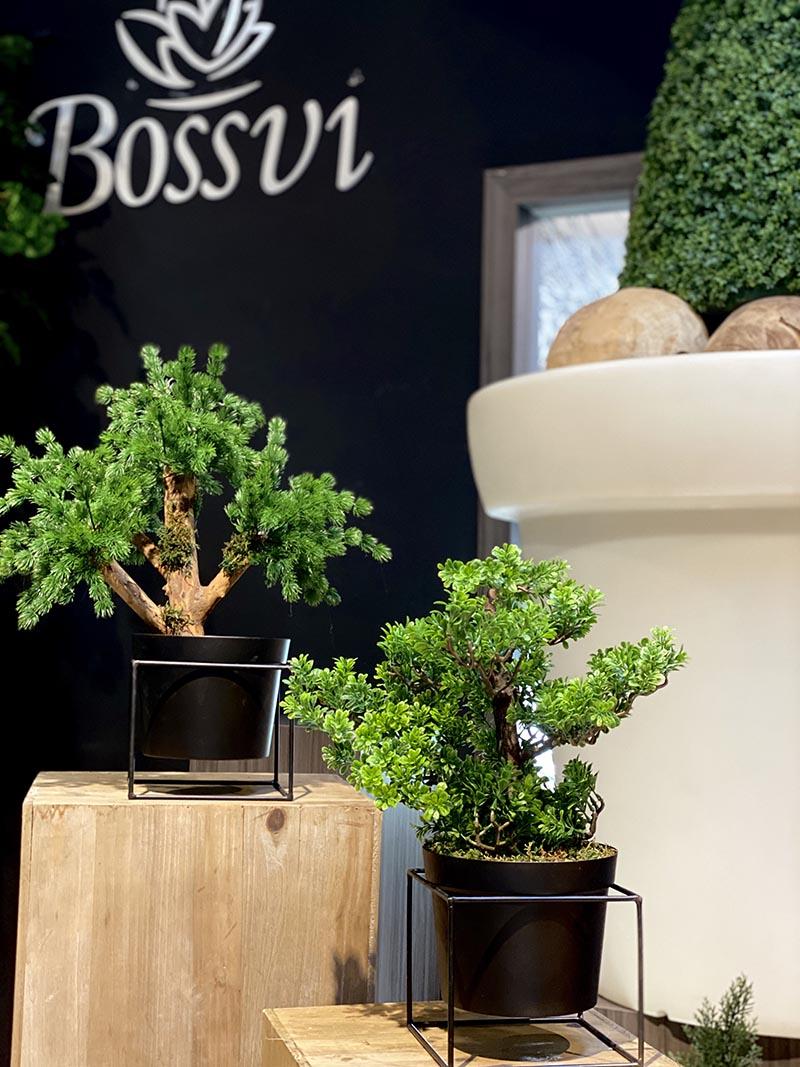 Bonsai artificial con maceta, acabado de cedro, abeto.